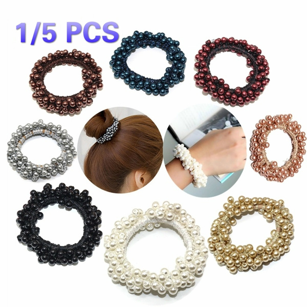 Ties Hair Accessories Pearl Hairband Elastic Rope Rubber Ring Ponytail Holder