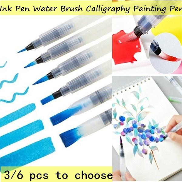 3X Refillable Pilot Watercolor Brush Ink Pen Water Brush For Calligraphy Drawing