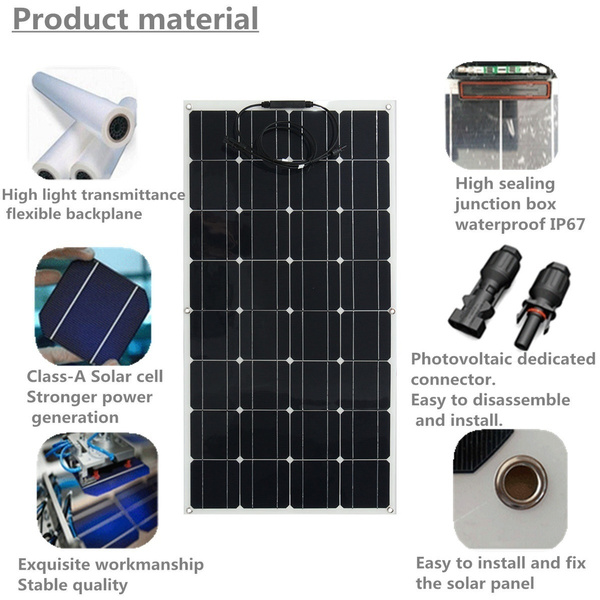 100W Waterproof Monocrystalline Solar Panel Battery Charger RV Boat for  Home Boat