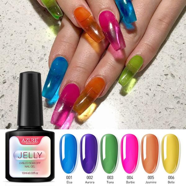 Translucent Color Gel Polish Jelly Nails UV Gel Varnish Soak Off UV LED  Semi Permanent Nail Art Gel Lacuqer