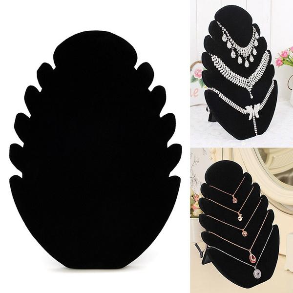 Necklace  Pendant Chain Display Holder Stand Velvet Easel Organizer Rack