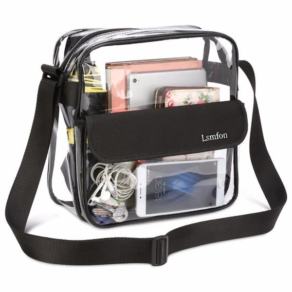 01c0398704e0 Lsmfon Clear Crossbody Messenger Shoulder Bag with Adjustable Strap NFL  Stadium Approved Transparent Purse