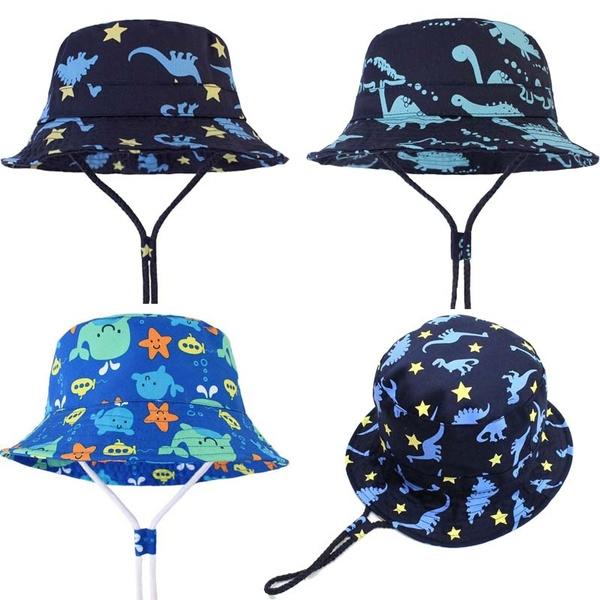 Boys' Accessories Children Boys Cartoon Dinosaur Bucket Hat Cotton Summer Beach Kids Baby Sun Cap Hats
