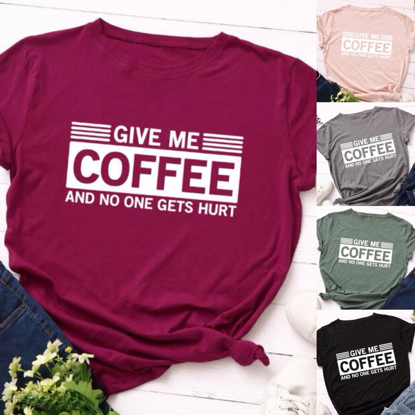 Coffee, Plus Size, letter print, Shirt