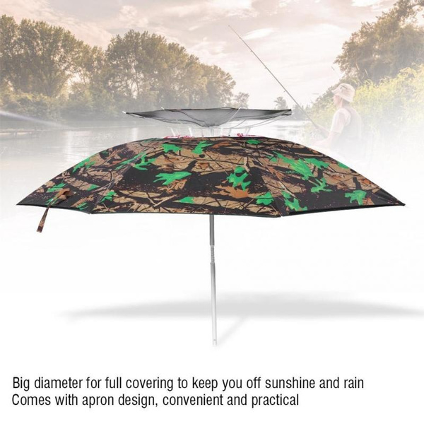 CAMO CARP FISHING 73inch UMBRELLA BROLLY WITH SIDES AND BAG BROLLY SPIKE PEGS