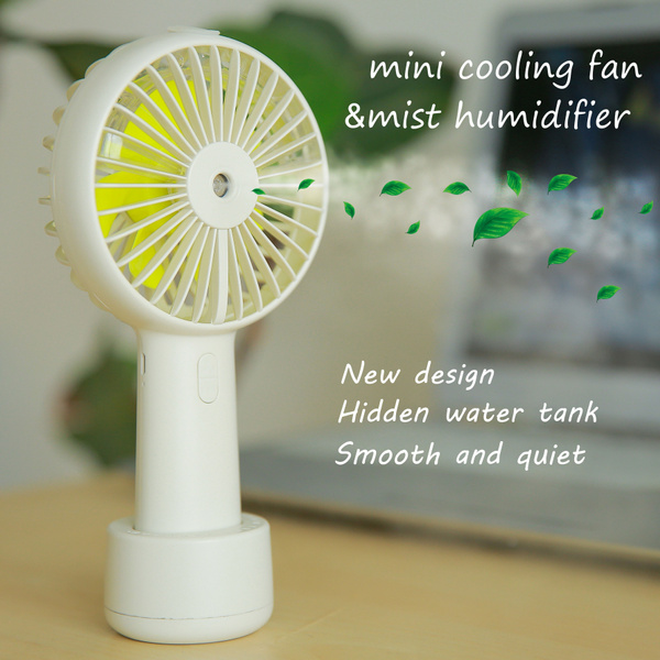 Hand held USB rechargeable Mini Humidifier Fan Beauty Replenishment Water  Spray Mist Cooling Gadget Fan Trival Summer Office