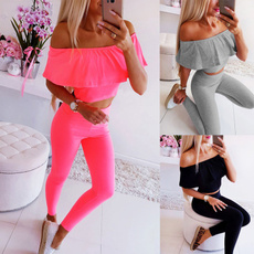 2pieceset, trousers, Yoga, Necks