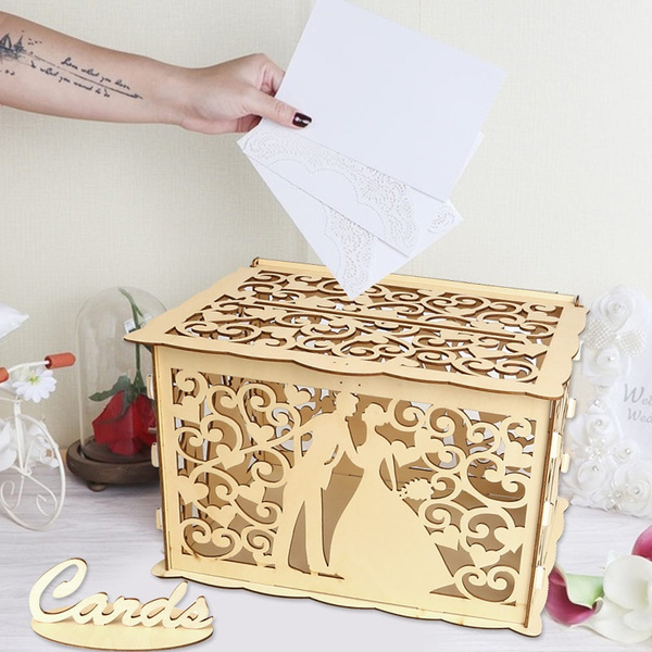Fashion Wooden Money Box Mr Mrs I Love You Flower Diy Wedding Gifts Card Box For Marriage Party Decor