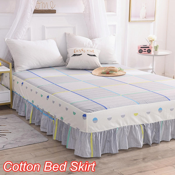 4 Colors Luxury Cotton Fabric 3 Sided Wred Bed Skirt Twin Full Queen King Size Dust Ruffle No Pillowcase