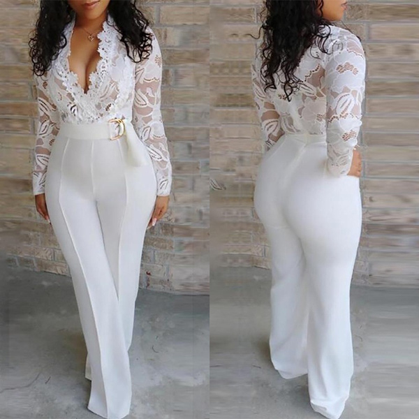 Fashion, Necks, lacejumpsuit, Long Sleeve