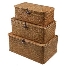 naturalwovenbasket, Box, rectangularseagrassbasket, seagrassstoragebasket