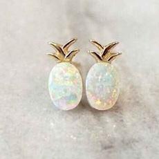 Summer, opalearring, gold, Stud Earring