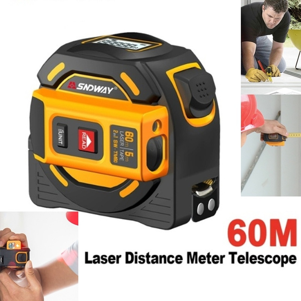 SNDWAY New Laser Distance Meter 40M 60M Tape Rangefinder Multi Function  Self-Locking Hand Retractable 5m Rangefinder Ruler Survey Tool