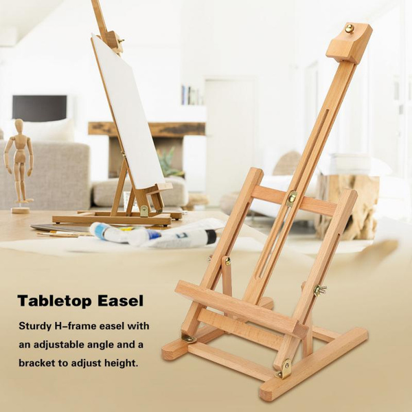 Adjustable Height 54cm Tabletop Wood Studio H-Frame Easel Artist Painting  Tool
