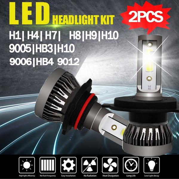 2PCS LED Car Headlight COB Chip 6000K LED Bulbs Mini Size Super Bright  Lamps Fog Light H1 H7 H4 HB2 9003 H8 H9 H11 9005 HB3 H10 9006 HB4 9012