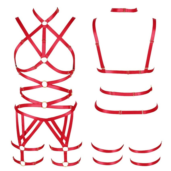 Full Body Harness Set Tassel Strappy Bra Hollow Belt Plus Size Gothic Punk Festival Wear