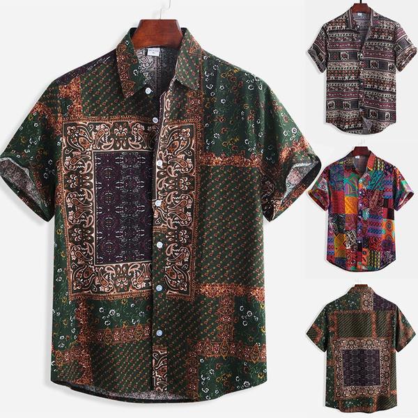 Men/'s Button Down Short Sleeve Shirt Beach Loose Casual Collar Shirts Tops M-3XL