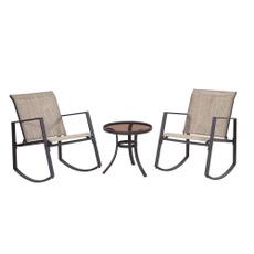 Polyester, 3piecerockingslingoutdoorbistroset, Chair, Tan