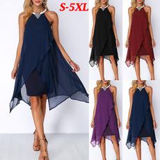 sleeveless, Plus Size, knee length dress, Dresses