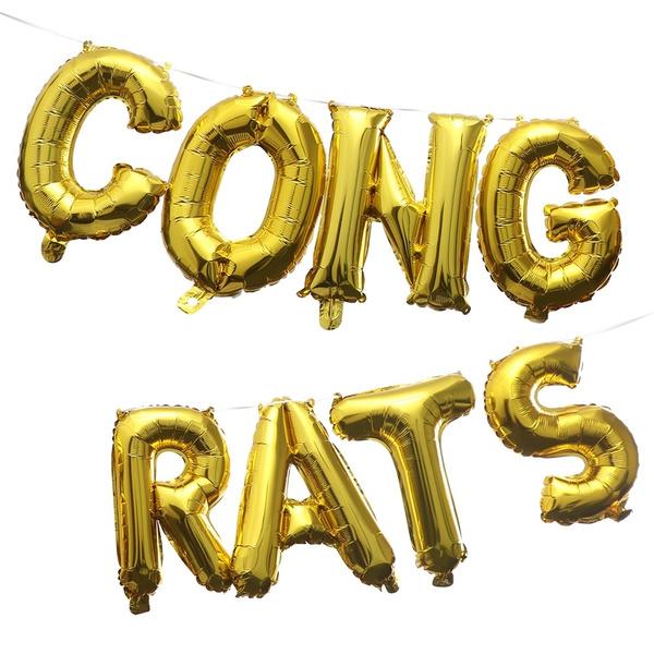 """16/"""" 3D Rose Gold CONGRATS Foil Balloons Graduation Ceremony Party Banner Decor"""