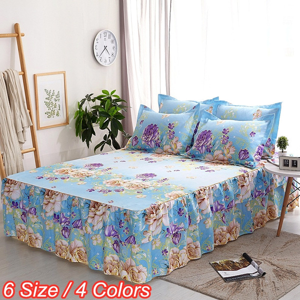 4 Colors 16 Inches Drop Non Slip New Flower Pattern Bed Skirt Brushed Microfiber Dust Ruffled 3 Sided Wred Twin Queen King For Eu Us Size