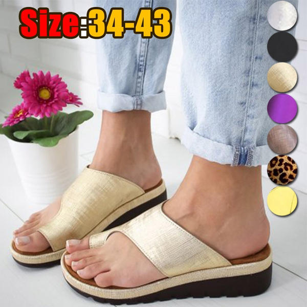 ffe706f4d8 Women PU Leather Shoes Comfy Platform Flat Sole Ladies Casual Soft Big Toe  Foot Correction Sandal Orthopedic Bunion Corrector Outdoor Sandals Wedge ...