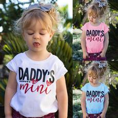 Mini, childtop, Cotton T Shirt, letter print