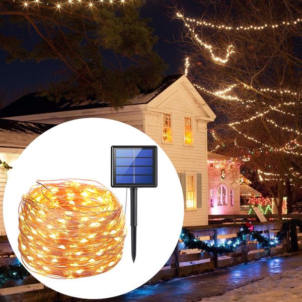 Solar Led Strip Light 20m Waterproof Christmas Halloween Outdoor Garden Lighting Home Decor Light Color Warm White Multicolor