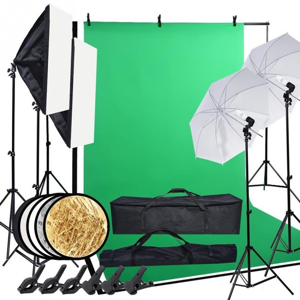 Photo Studio Photography Lighting Kit Umbrella Softbox Backdrop Stand Set by Wish