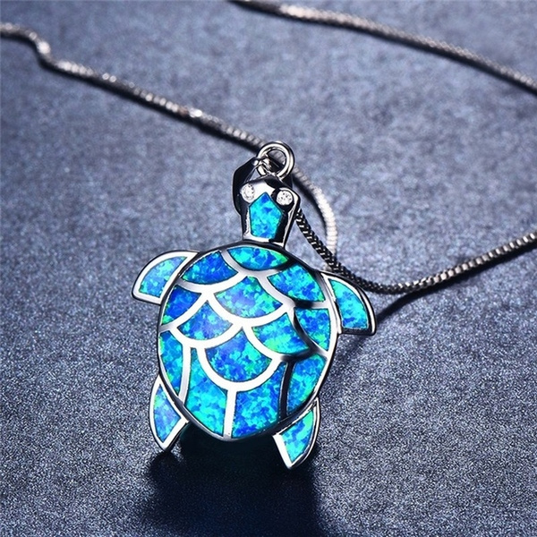 925 sterling silver necklace, Turtle, bluefireopal, Chain