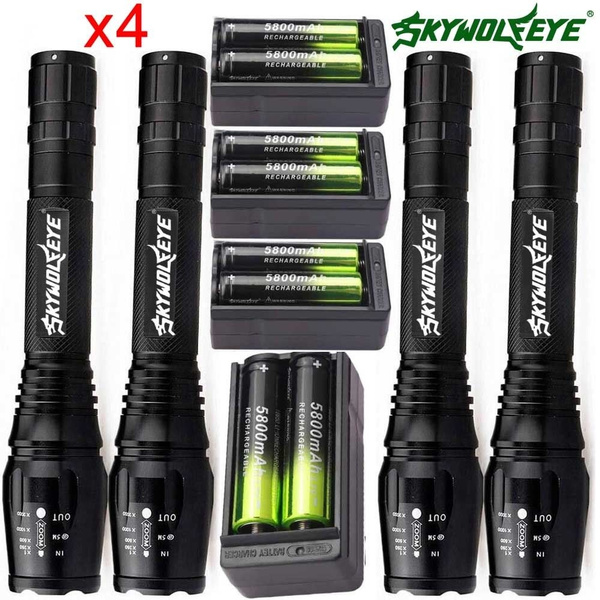 90000LM Tactical SkyWolfEye Police T6 LED Flashlight Camping Torch Light Lamp