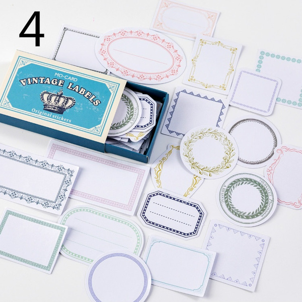 60Pcs//Box Retro Multi-function Paper Sticker Decor Diary Scrapbooking Labels b