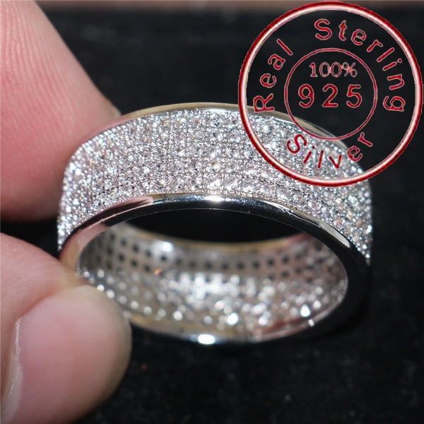 Men Fashion 925 Sterling Silver Rings 5 Rows Pave Setting Diamond Rings For Men 10kt White Gold Filled Engagement Wedding Anniversary Party Fashion Accessories Size 6 12 Wish
