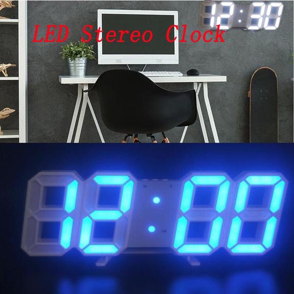 Digital 3D white LED wall clock alarm clock snooze 12/24 hours smart  temperature alarm clock display USB
