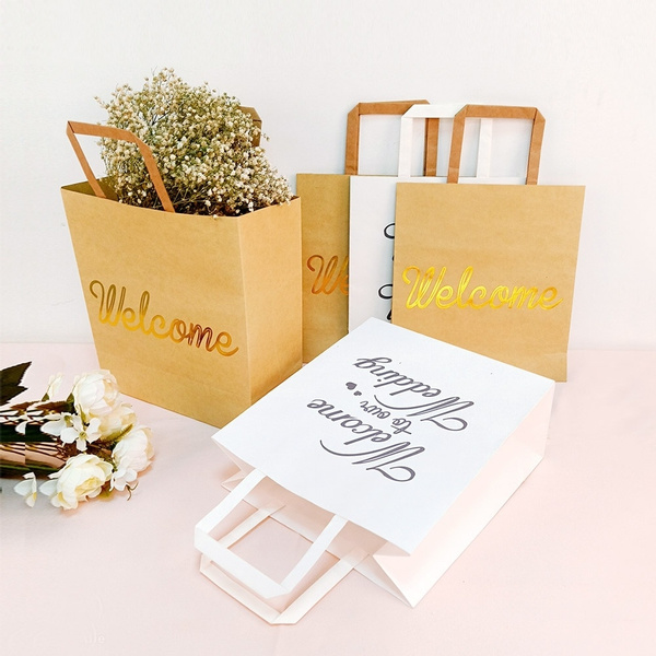 Ourwarm 5pcs Welcome Gift Bag Kraft Paper Bags With Handles Party Wedding Supplies