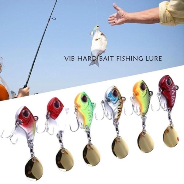 Rotate Spoon Metal Metal Fishing Bait Treble Hook VIB Lure Wobblers Crankbaits