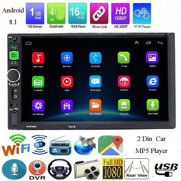 """Quad Core Android 8.1 WiFi GPS Navi 2Din 7/""""Car Stereo MP5 Video Radio Player Cam"""