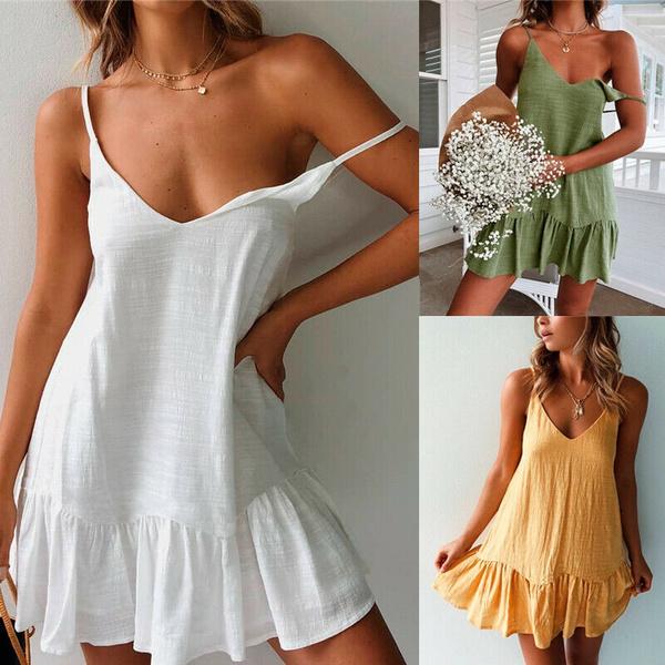 Women\'s Strappy Beach Dress Summer Leisure Tank Dress Kaftan Dresses Mini  Dress