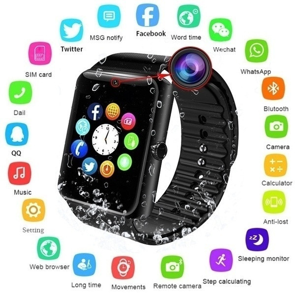 Bluetooth Smart Watch Touch Screen Wrist Watch with Camera/SIM  Card,Waterproof Sports Fitness Tracker Apply to Android IPhone IOS for Kids  Women Men