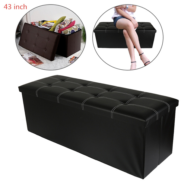 Miraculous Home Modern Large 43 Inch Faux Leather Ottoman Folding Storage Box The Shoe Stool Us Andrewgaddart Wooden Chair Designs For Living Room Andrewgaddartcom