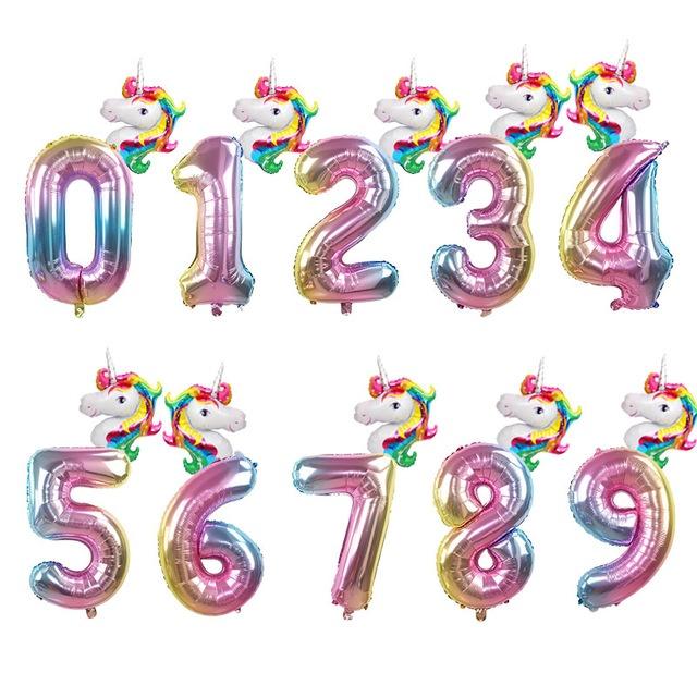 "6pc Rainbow Unicorn Balloon 32/"" Number Birthday Party Decoration Wedding Ballon"