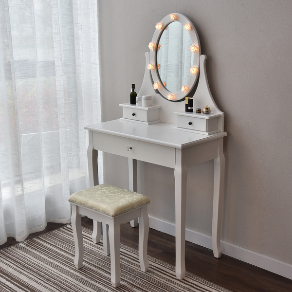 . Makeup Vanity Table Set Mirror with Flower LED Lights Dressing Table and  Stool Set with Drawers Removable Top Organizer Multi Functional Writing  Desk