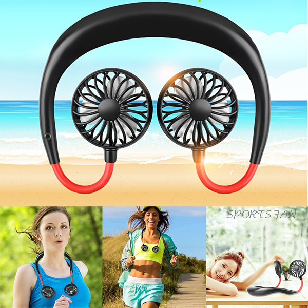 USB Rechargeable Portable Dual Cooling Mini Sport Fan Neckband Lazy Neck Hanging