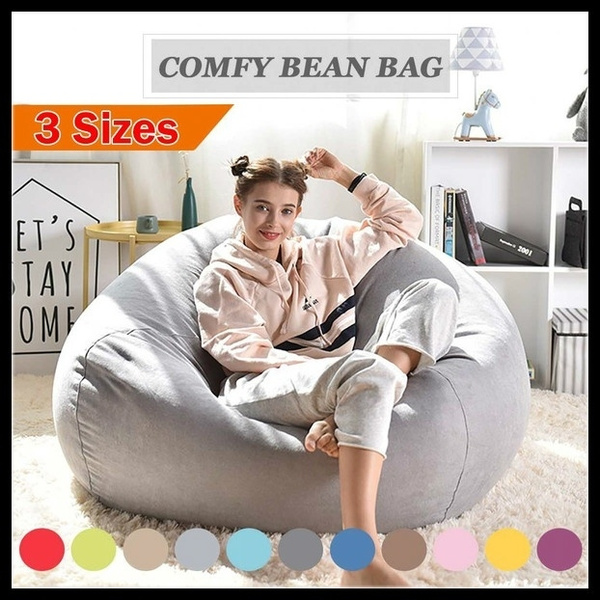 Enjoyable Large Bean Bag Sofa Cover Lounger Chair Sofa Ottoman Seat Living Room Furniture Without Filler Beanbag Bed Pouf Puff Couch Tatam No Filling Ibusinesslaw Wood Chair Design Ideas Ibusinesslaworg