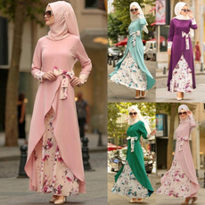 Plus Size, Floral, muslimdres, Sleeve
