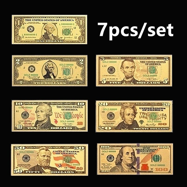 1 Set 7 Pcs Gold Plated US dollar Paper Money Banknotes Crafts For Collection CE