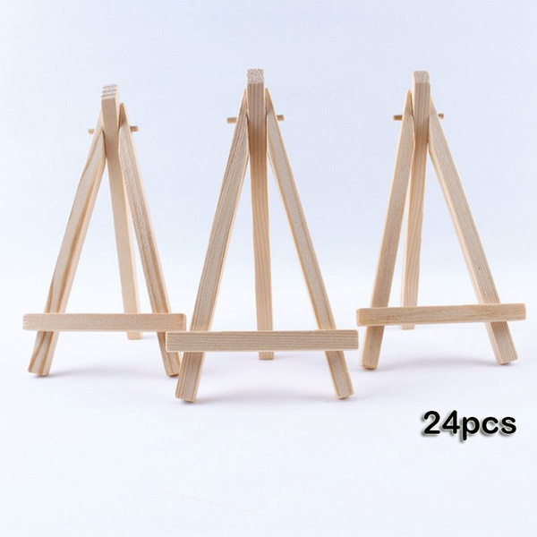 24pcs Mini Wooden Artist Easel Triangle Wedding Table Stand Display Holder 15 X 8 Cm Ygn