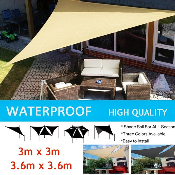 Outdoor Sun Shade Sail Garden Patio Swimming Pool Awning Canopy Sunscreen  UV Shade Net Awning (Triangle,4 Colors,2 Size)