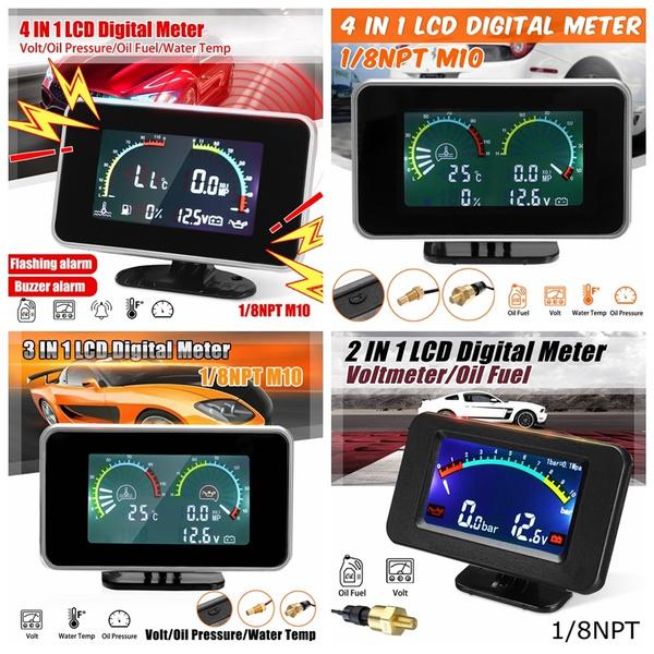 Car Gauges LCD 2 In 1 / 3 In 1 / 4 In 1 Color Display Screen Voltmeter Oil  Pressure Fuel Water Temp sensor Digital With / Without Alarm Gauge 1/8 NPT