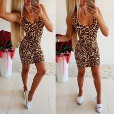 Mini, Summer, women dresses, leopard print